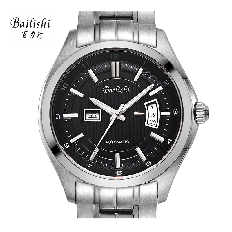 BAILISHI fashion men mechanical wristwatches calendar watches casual brand luxury male wristwatches stainless steel watche free shipping original 9 inch lcd screen claa102na0acw 30 pin