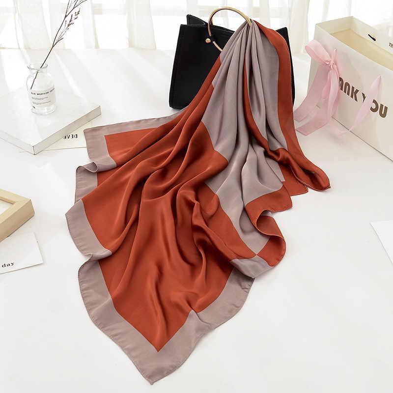 Модный Роскошный брендовый черный женский шарф, 100% шелк, на ощупь, шаль, шарф в клетку, квадратный платок, шарфы, 2017, новинка, 90x90 см