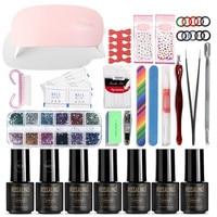 Manicure Tool Full Set Nail Polish Glue Phototherapy Machine Light Kit Women DIY Nail Art Tips Liquid Buffer Glitter Deco Tools