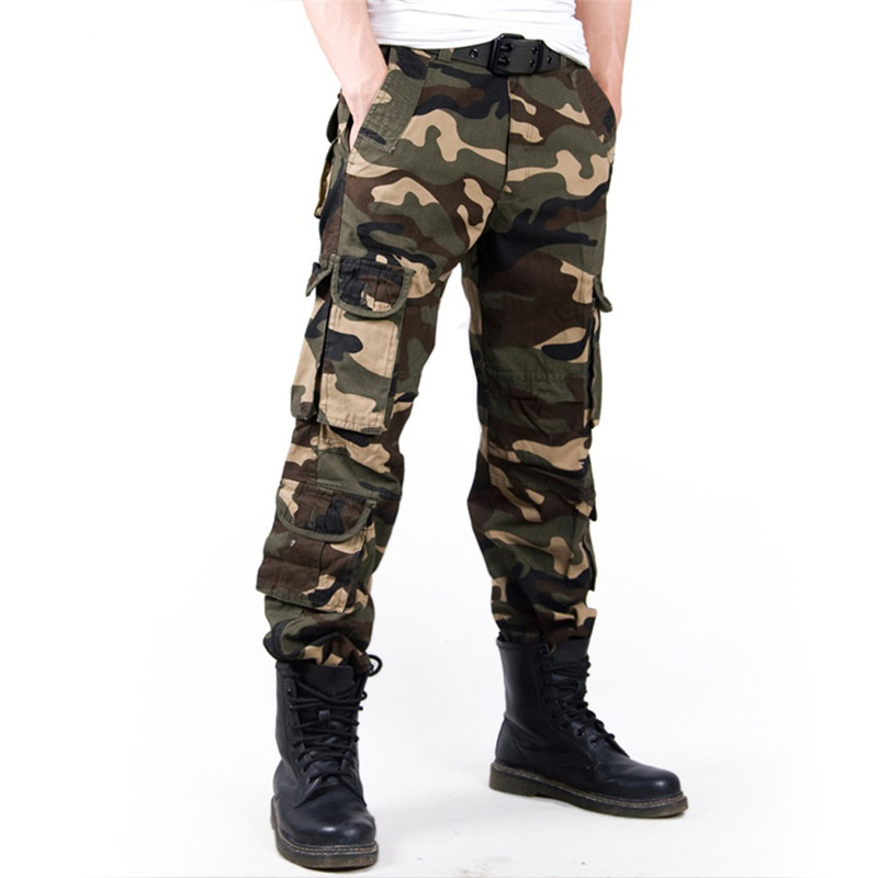 2019 Men's Cargo Pant Baggy Casual Men Tactical Pant Multi Pocket Military Overall Male Outdoors Long Trouser Army Camouflage