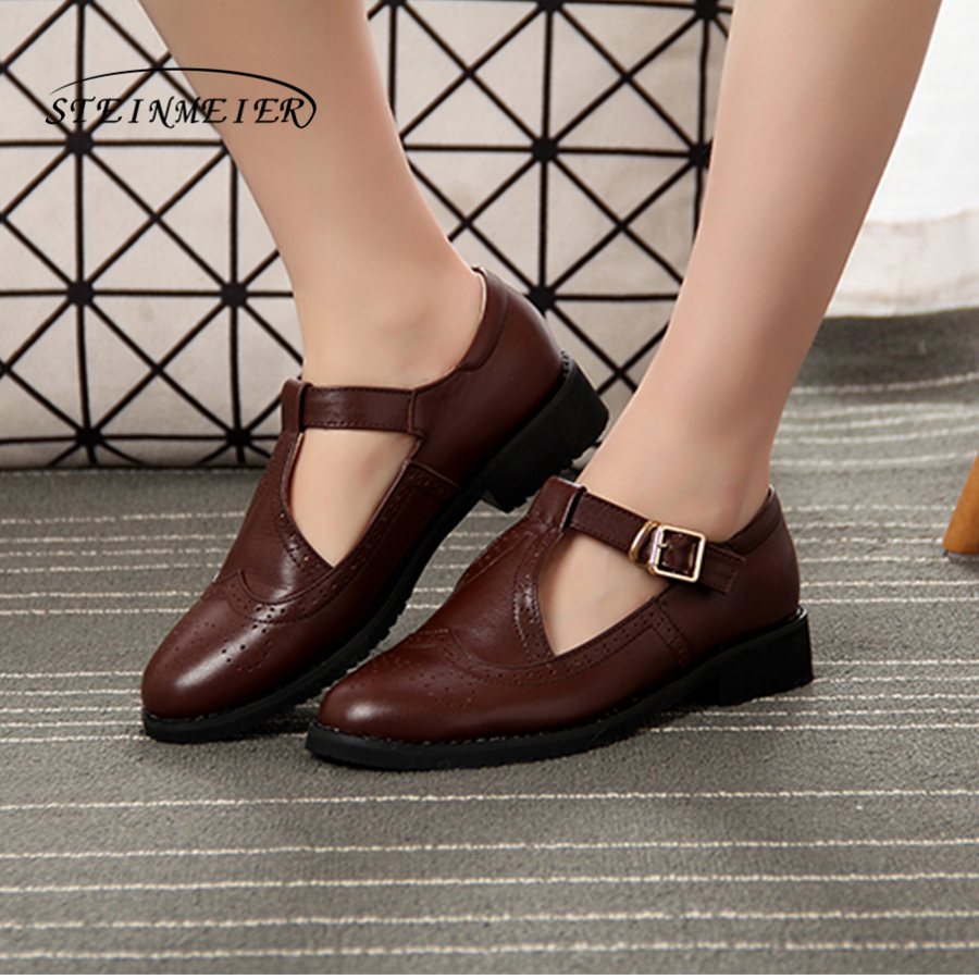 Women genuine Leather oxford Sandals shoes women handmade vintage round Toe buckle brown oxford summer shoes oxford borboniqua oxford