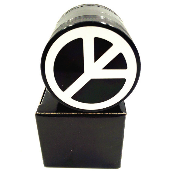 Latest Peace Mark 4Layer 50mm Black Grinder Somke Grinder Weed Herb Tobacco Crusher Grinder Cigarettes Accessories Hand Muller