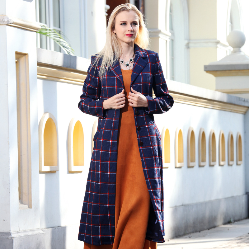 Pardessus Unique Fashion Midi Manteau Femme High Long Printemps Plaid Multi Entaillé Street Revers Poitrine Femmes Pq5xR8g