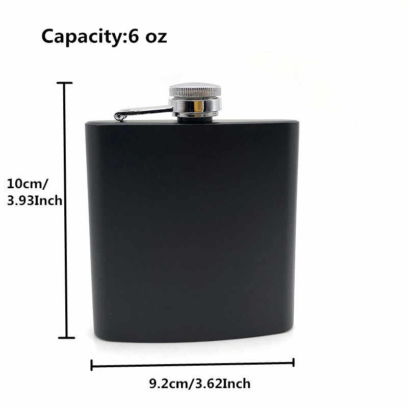 Alalinong 6 オンスステンレス鋼のヒップフラスコ黒パーソナライズされたフラスコアルコールレーザー刻印ギフトセットドリンク陶器ボトルウルフ
