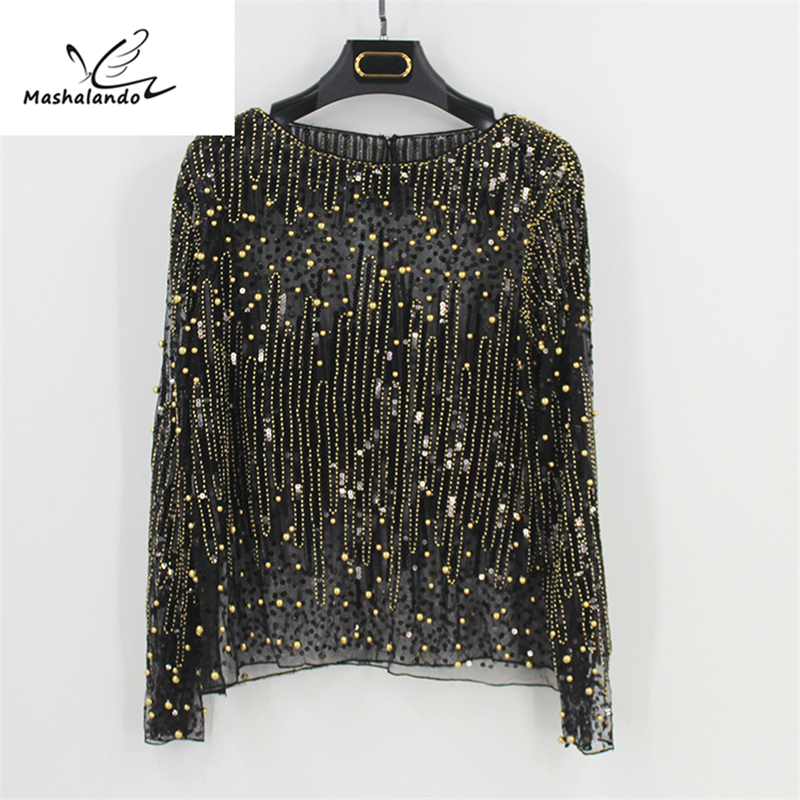 Detail Feedback Questions about 2018 Runway Sexy Sequined Bead Sheer Mesh  Lace Long Sleeve Shirt Vintage Diamonds Embroidery Embellished Blouse Top  Women ... 941a40241815