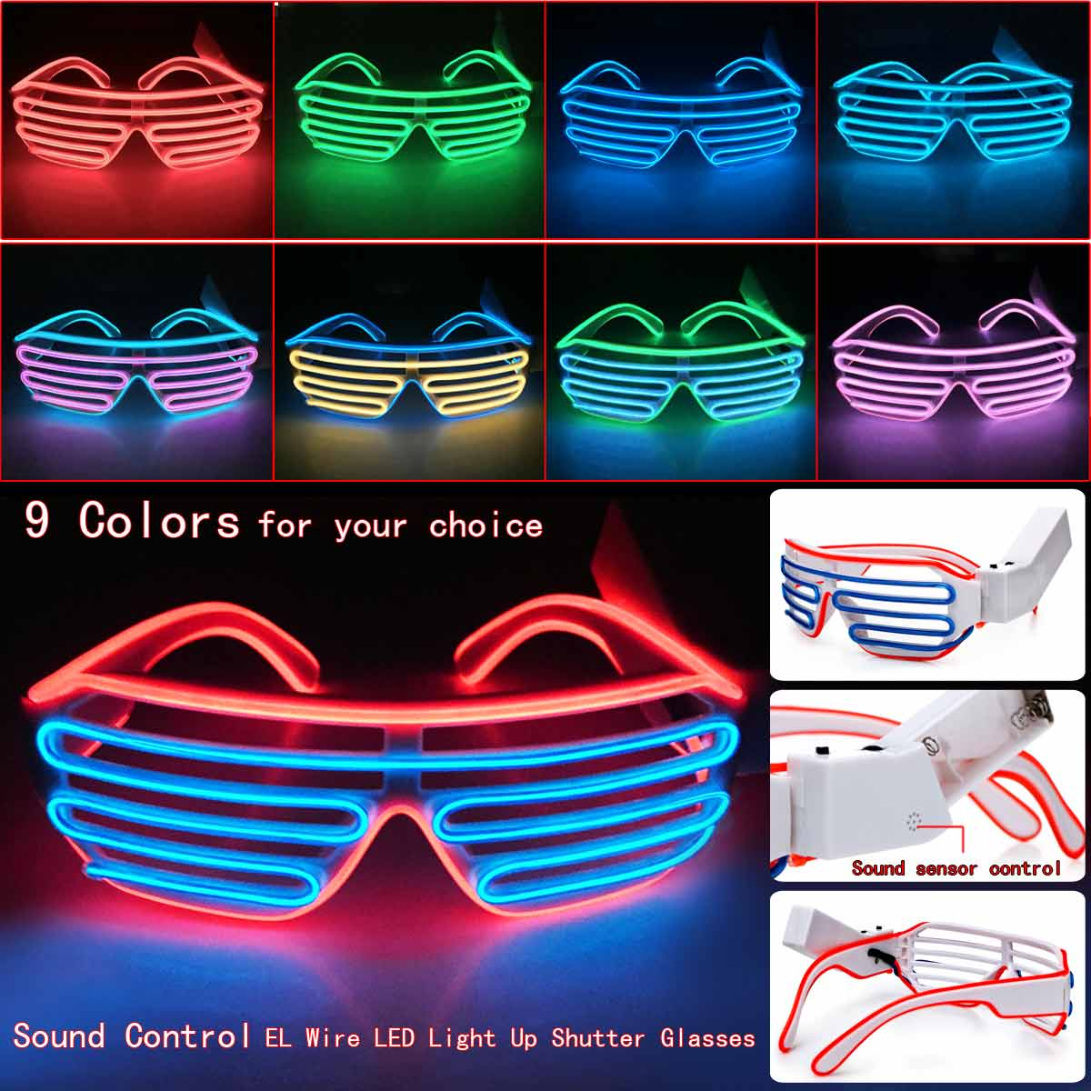 Pink El Wire LED Light Up Glasses Neon Glow Party Rave Flashing Shutter Shades