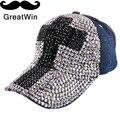 Nuevo diseño de marca de muchacha de las mujeres de la novedad de lujo tapas gorra de béisbol en forma de cruz latina rhinestone sombreros al aire libre lindo snapbacks casquette