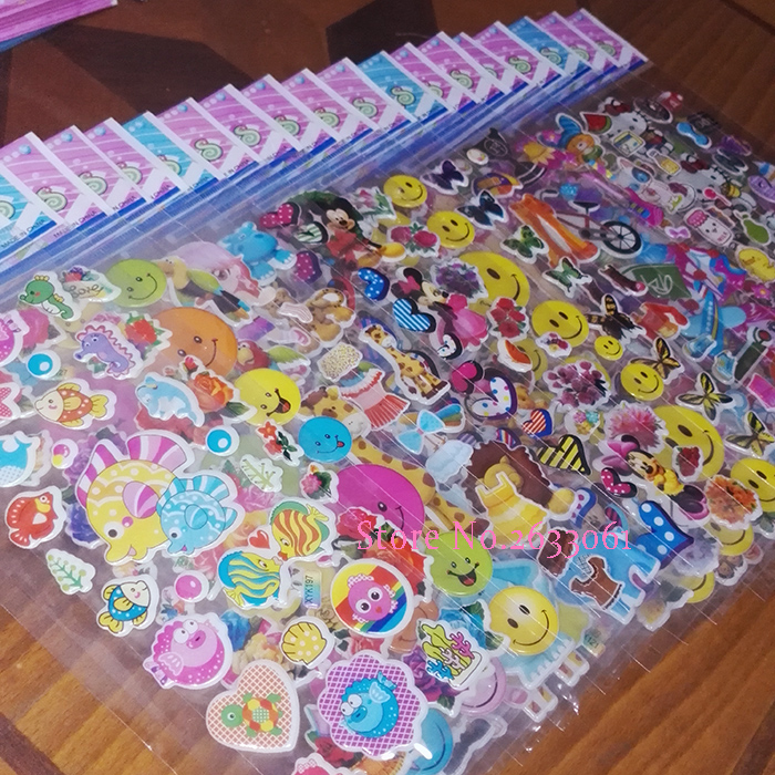 100 Different Sheets Cute 3D Puffy Bubble Sticker Cartoon Comic Animation Stickers Pack DIY Toys Gift for Children Kid for phone 6 sheets lot 3d puffy bubble stickers mixed cartoon kawaii stickers toys dress up girl changing clothes kids toys for children