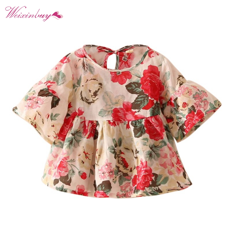 Baby Clothes Kids Girls   Blouses   Floral Flare Sleeve Ruffles   Shirt   Tops Kids Clothing