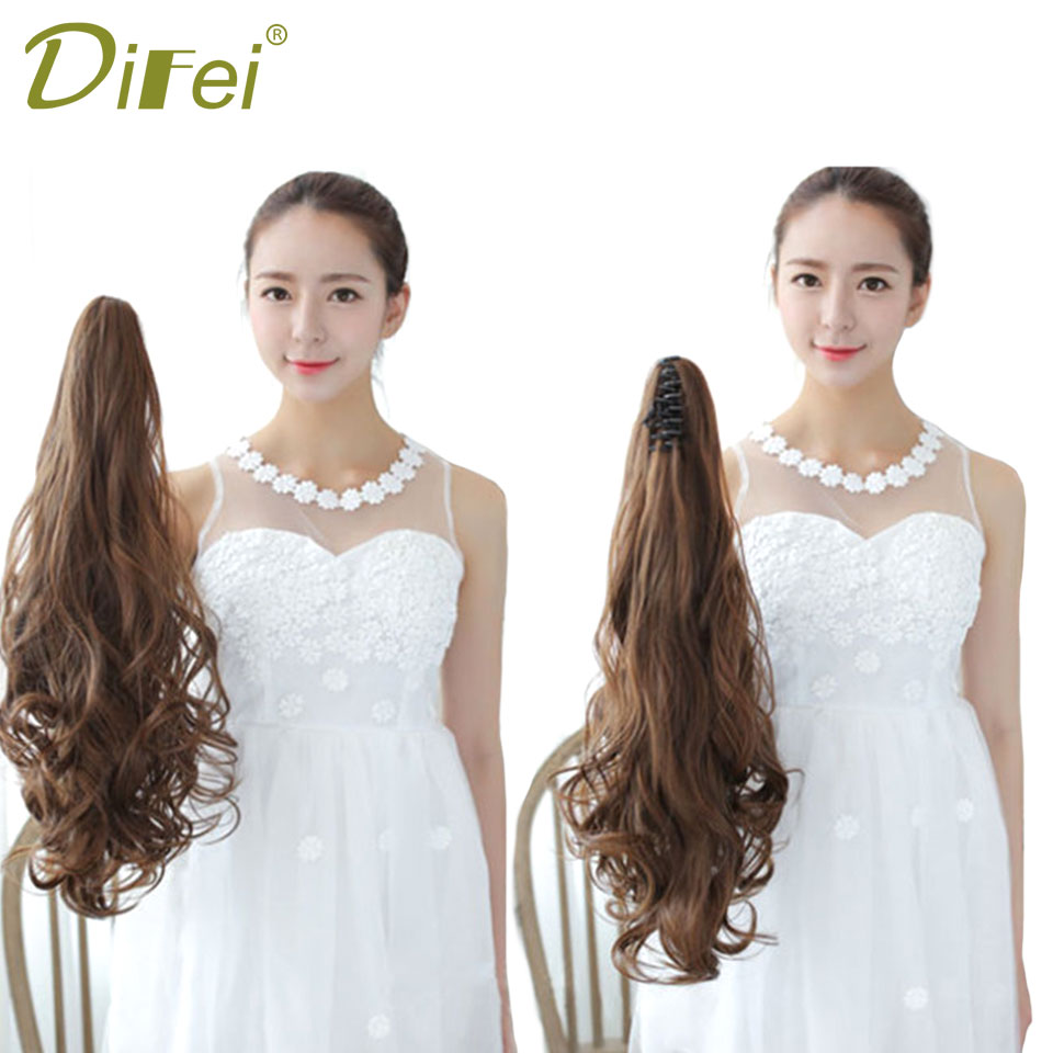 DIFEI 24women long Wavy Synthetic Ponytail Claw on Hair Extensions Curly Style Pony Tail Hairpiece hairstyles