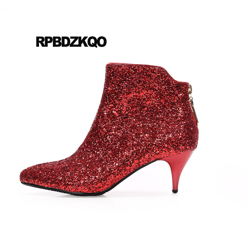 Fall Pointed Toe Shoes Wedding Booties Big Size 10 Bridal Red Women Ankle  Boots Medium Heel Stiletto High Glitter Silver Sequin e82428c7fe5c
