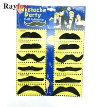 12 Pcs/set Creative Funny Costume Pirate Party Halloween Cosplay Fake Mustache Moustache Funny Fake Beard Whisker for Kids Adult(China)