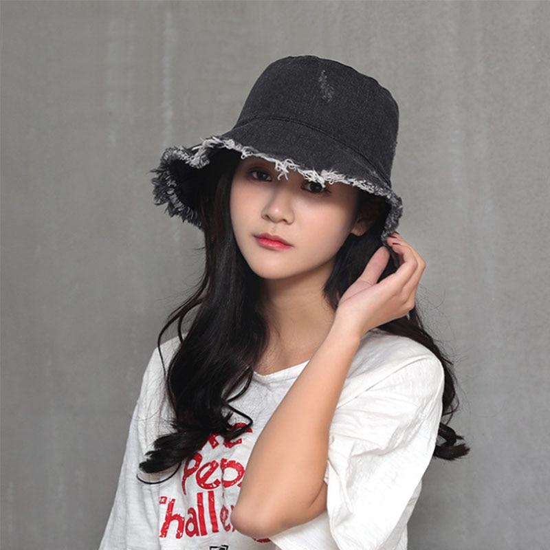 64e2c55407233 AETRENDS 2018 New Summer Women s Denim Bucket Hats Wide Brim Holes ...