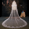 White Tulle Cathedral Train Wedding Veil 2016 Lace Applique Two-layer Long Bridal Veils Wedding Accessories