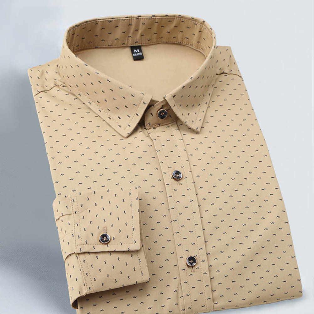 2019 Осенняя Новая модная мужская Тонкая мужская рубашка с длинными рукавами мужские повседневные мужские рубашки в горошек соцовские большие размеры M-5XL