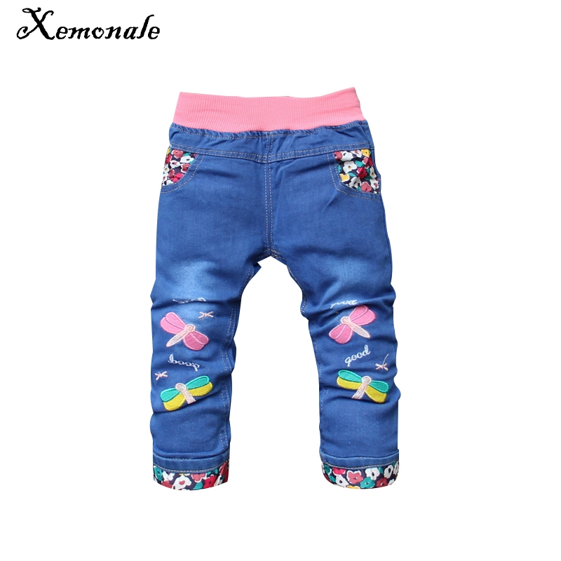 Xemonale Spring Autumn Baby Boys Girls Jeans Kids Cool Washing Denim Pants Toddler Girls All Match Pants Children Clothes