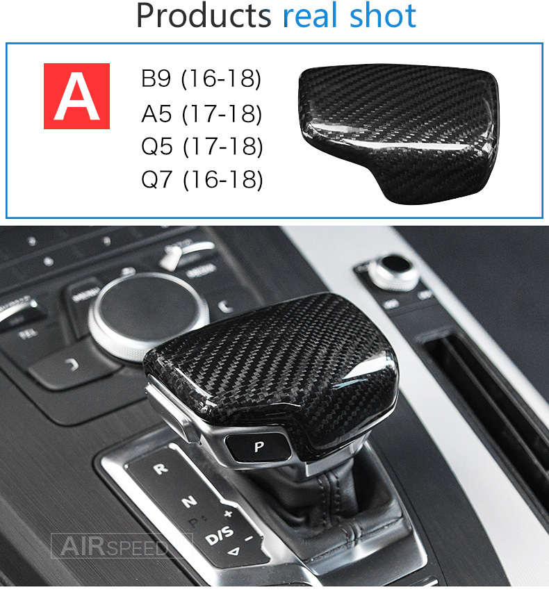 Carbon Fiber Gear Shift Knob Cover Head for Audi A4 B9 B7 A5 Q7 A3 S3 A4 B8 A5 C6 A6 C7 C6 S6 A7 S7 A8 Q5 Accessories (8)