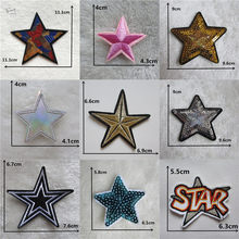 Sequins five-pointed star iron on patches Clothes Applique Decorate Jacket bag hat thermo-stickers Cute embroidery Stripes Badge(China)