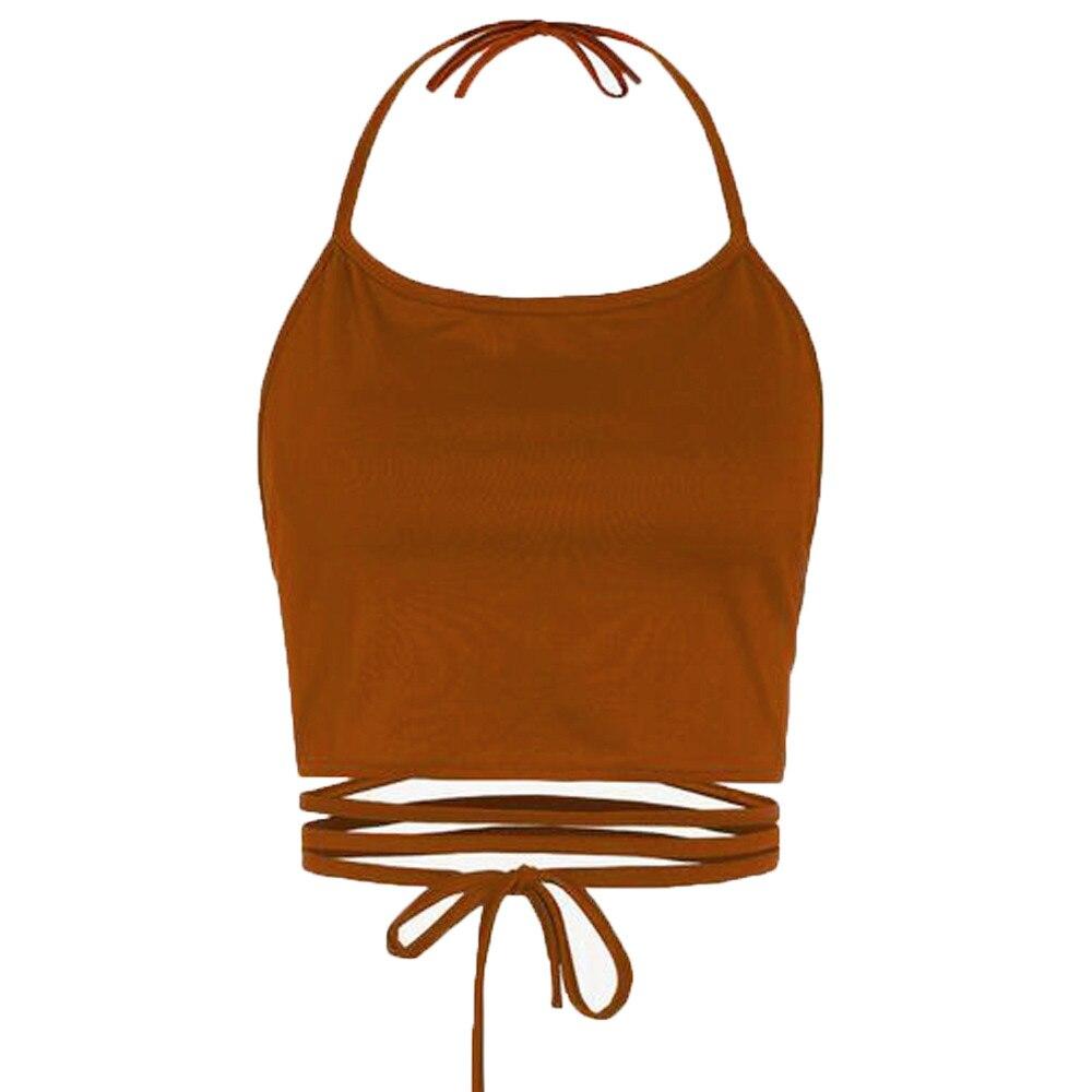 Femme летние croptop Холтер Сексуальные Безрукавки для женщин Для женщин бинт Hollow без бретелек Топ Off Shoulder Strappy Top Vetement