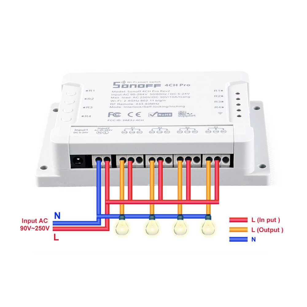 Sonoff 4CH Pro R2 inteligentny Wifi przekaźnik moduł przełączający 4 kanałowy Ewelink sterowania głosem z Alexa Google domu 433 RF włącznik światła wi-fi