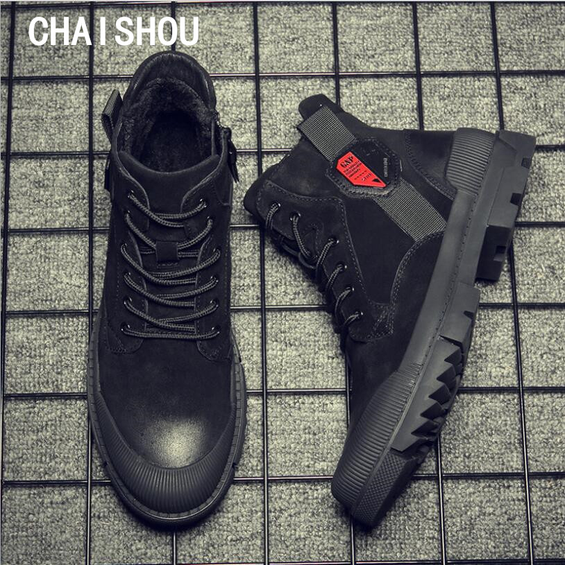 CHAISHOU Man Sneakers Shoes Winter Genuine Leather Lace-up Round Head Black Flat Casual Shoes CS-64