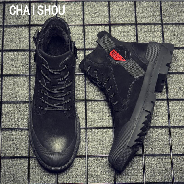 CHAISHOU man sneakers shoes Winter Genuine Leather lace-up round head black flat shoes