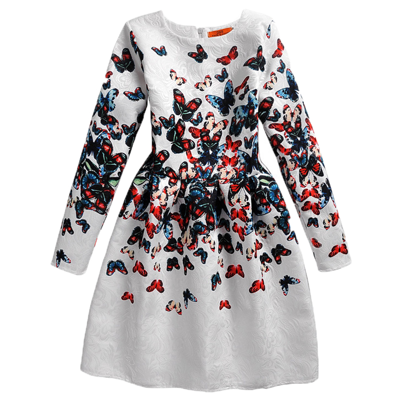 2017 New Fashion Long Sleeve Girl Dress Butterfly Print Autumn Winter Teenage Girls Clothing Casual Teenager Princess Dress Kids stylish long sleeve pea print girl s dress