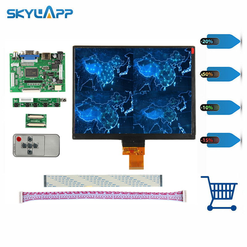 Skylarpu Control Driver Board + 8 inch for HJ080IA-01E 1024*768 IPS high-definition LCD Display For Raspberry Pi (no touch) new original package innolux 8 inch ips high definition lcd screen hj080ia 01e m1 a1 32001395 00