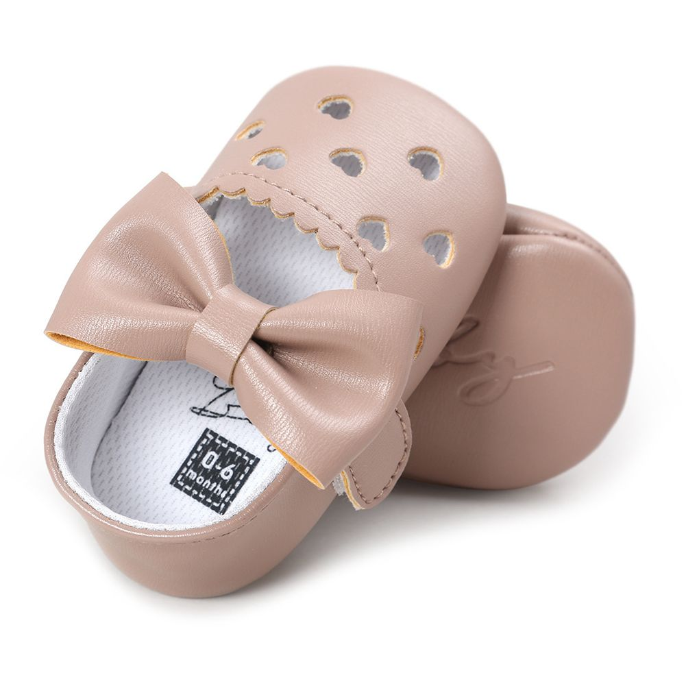 ABWE Best Sale Leather Newborn Baby Girls Princess Heart-Shaped Soft Bottom Shoes Apricot 0-6m