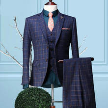 High Quality New Fashion Male Suit Set Groom Wedding Dress Suits Mens Blue Plaid Three Piece Sets Jacket with Vest With Pants