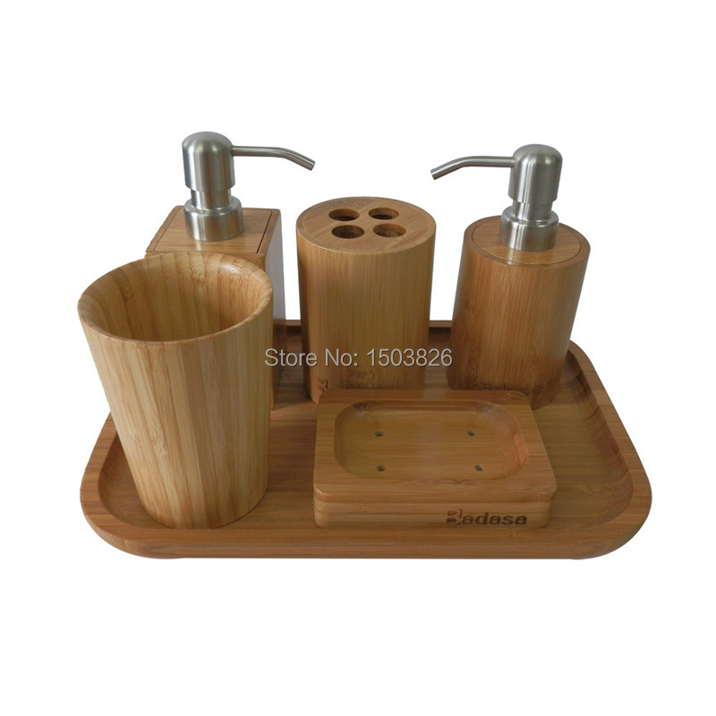 Badasa 6 pcs set eco friendly bamboo bathroom set for The collection bathroom accessories