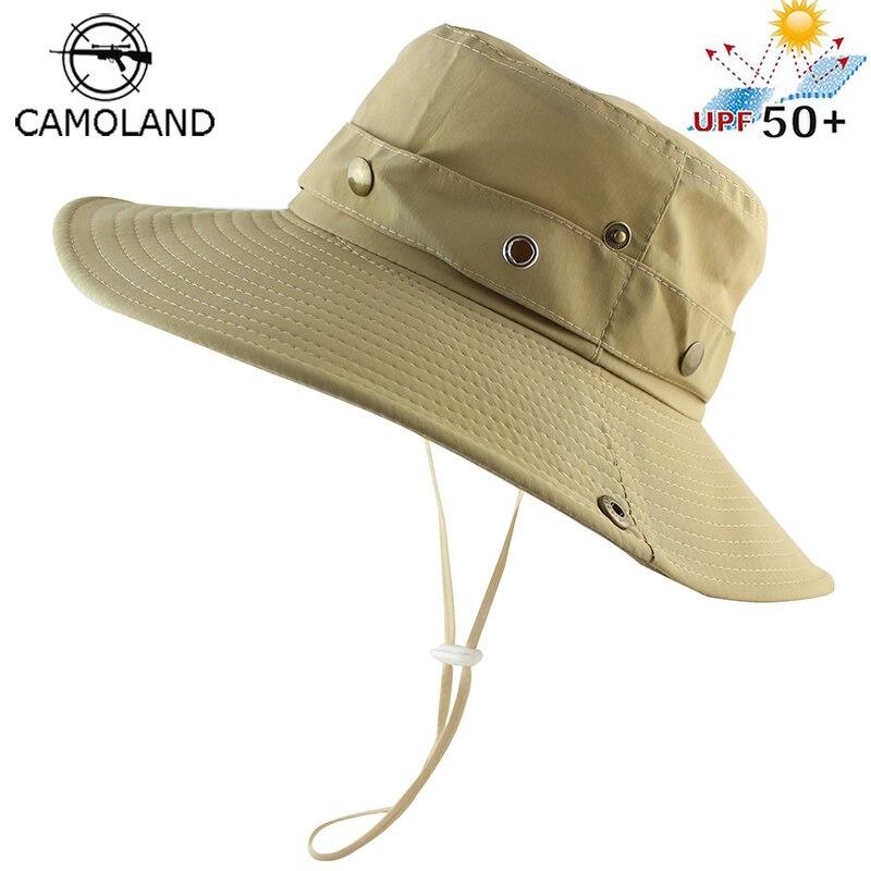UPF 50 + Chapéu de Balde de Verão Proteção UV Aba Larga Boonie Chapéus de  Sol ba423985988