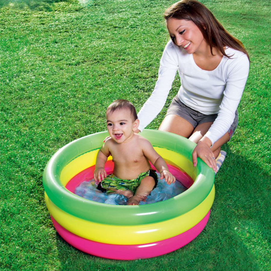 3 Layers Rainbow Color Bright Inflatable Round Bottom Inflatable Children's Ocean Ball Pool Baby Play Swimming Pool 70*24cm