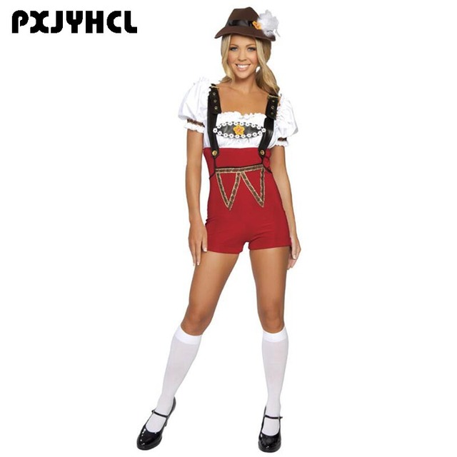 be2284e3644 Fantasia Adult Sexy Bavarian Oktoberfest Costume For Women White Shirt Beer  Costume Girl Maid Cosplay Outfit