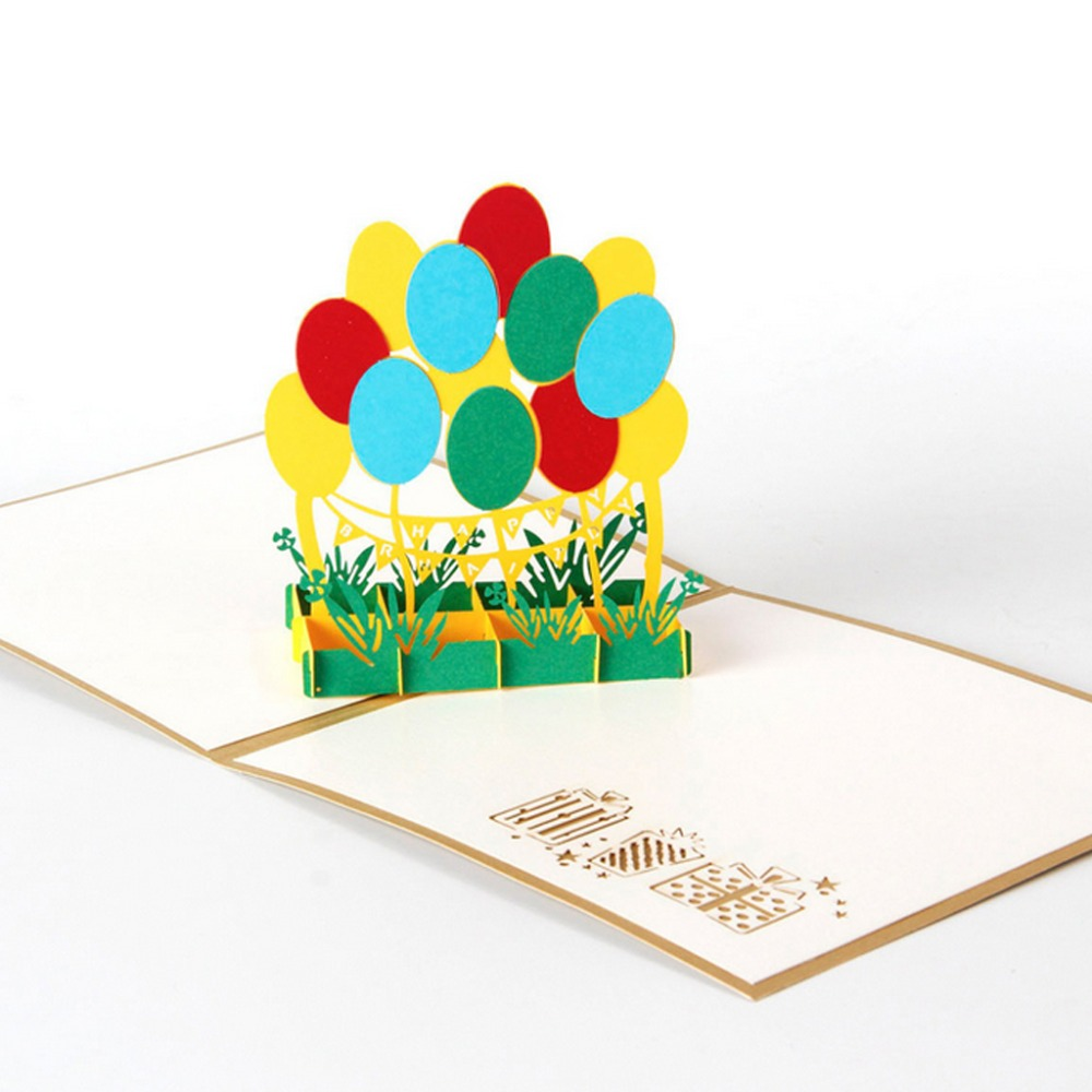 3D Pop Up Colorful Balloon Greeting Card Christmas Valentine ...