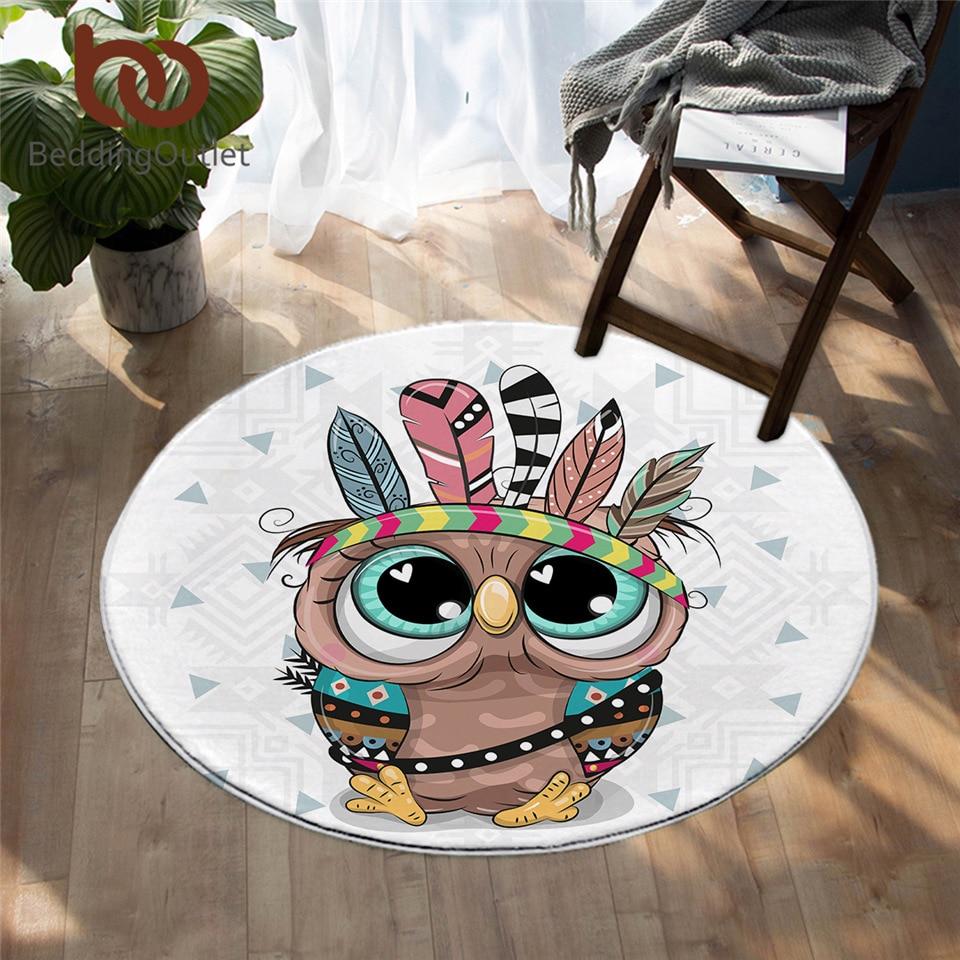 BeddingOutlet Cartoon Animal Round Carpet Cute Lion Owl Pug Floor MatFeather Aztec Area Rug Colorful Non-slip Play Mat Dropship