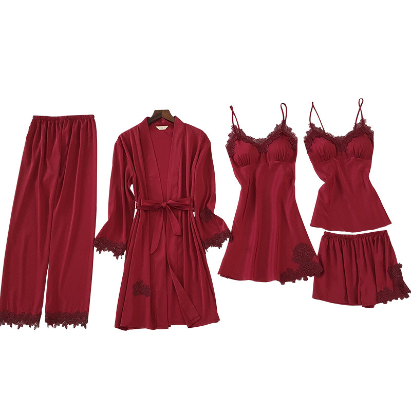 ZOOLIM 5PCS Cami&Shorts&Nighty&Pants&Robe Lace Sexy Lingerie Satin Sleepwear Pajamas Set Nightwear Negligee Pyjama with Shorts