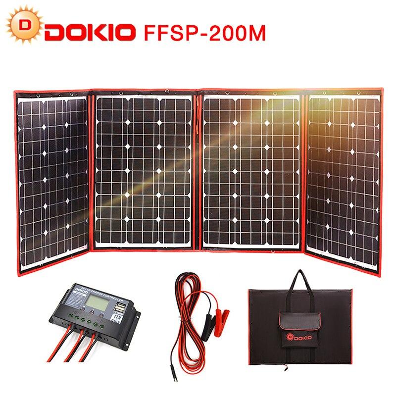 Dokio marca Flexible plegable de 200 W (50Wx4) mono Panel Solar de alta potencia portátil Panel Solar para RV & barco y viajes Panel Solar 200 W