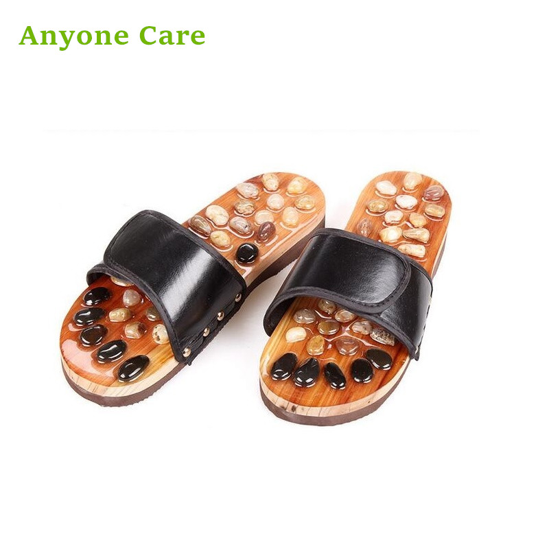 купить 100% Brand new Natural stone Health care slippers Female Men's Foot Acupuncture Spring Massage Slippers онлайн