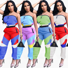 2019 new summer women strapless high waisted patchwork sleeveless jumpsuit fashion sport romper H3233