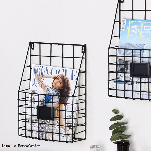 Us 15 99 Accent Metal Wire Basket Wall Magazine Racks For Home Mount In Storage Holders From Garden On