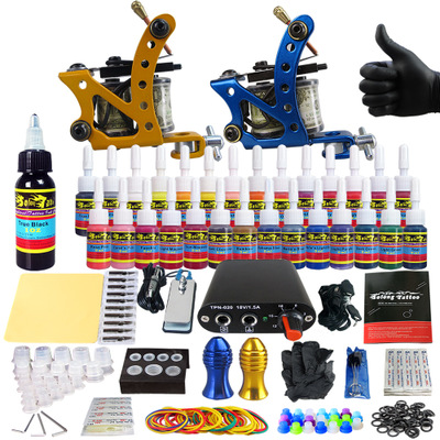 Tattoo Art Sets Tattoo Machine Power Supply Coils Pigmentation Ink Tattoo Needle O Ring Rubber Grips Hool Line Whole Tattoo Kit professional tattoo kit 5 guns complete machine equipment sets teaching cd ink for beginners body art beauty tools tk 2509 m