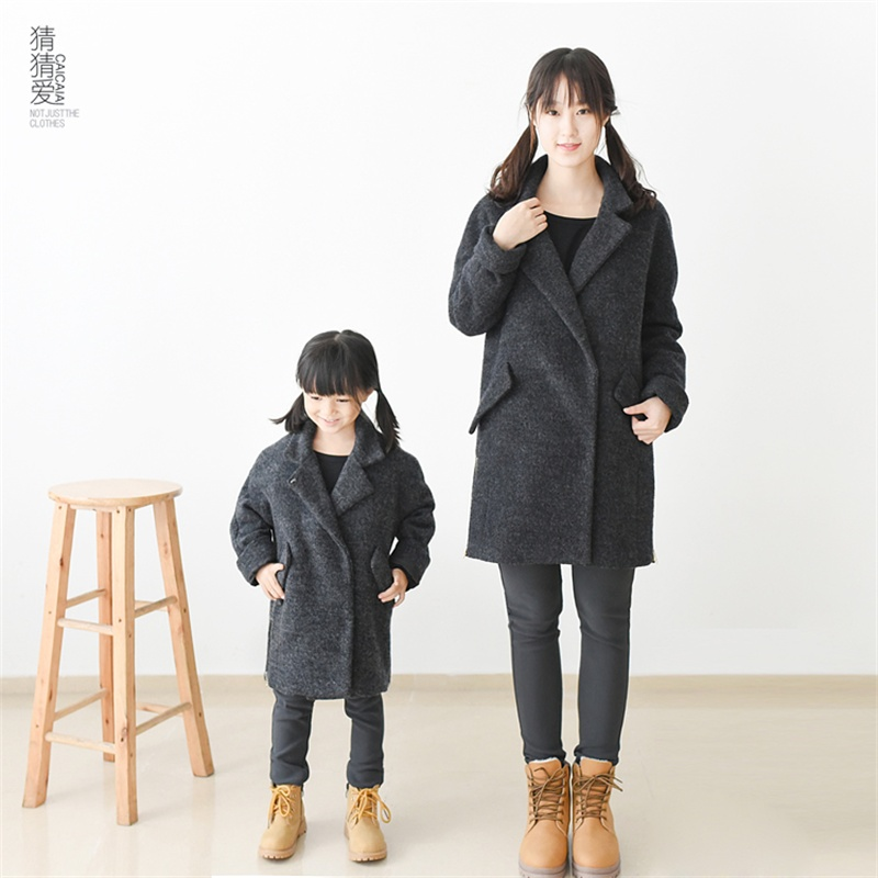 2015 Winter thick wool girl ladies infant long coat mother daugther outerwear family look clothing outfits children women coats