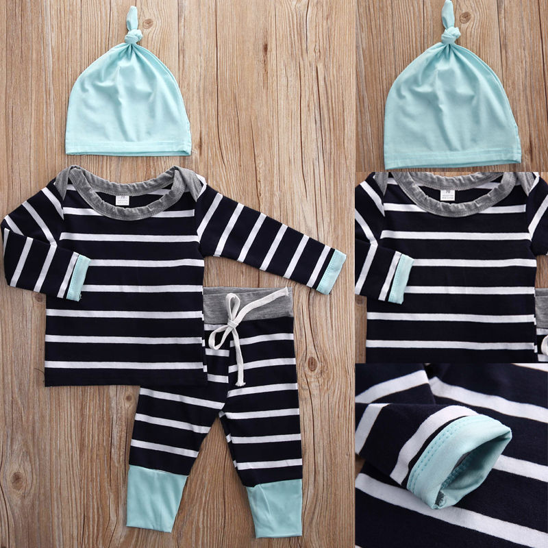 2016 Spring and Autumn baby boys clothes casual 3pcs Hat T shirt pants The Striped leisure baby boys Clothing sets in Clothing Sets from Mother Kids