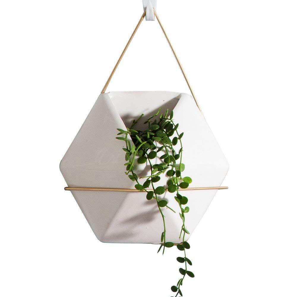Modern Hanging Planter Vase, Geometric Wall Decor