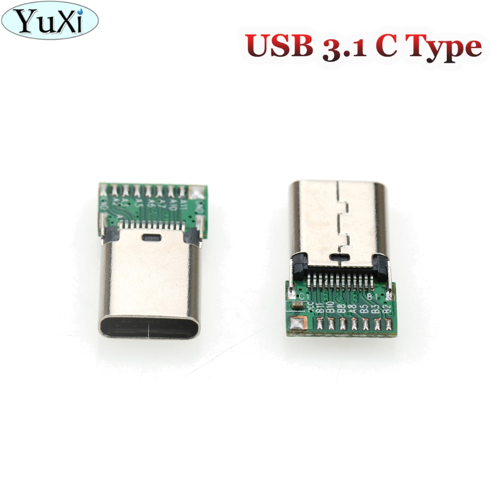 YuXi 1pcs Micro USB 3.1 C Type Female Plug 24Pin With PCB Board Test Male Data Connector