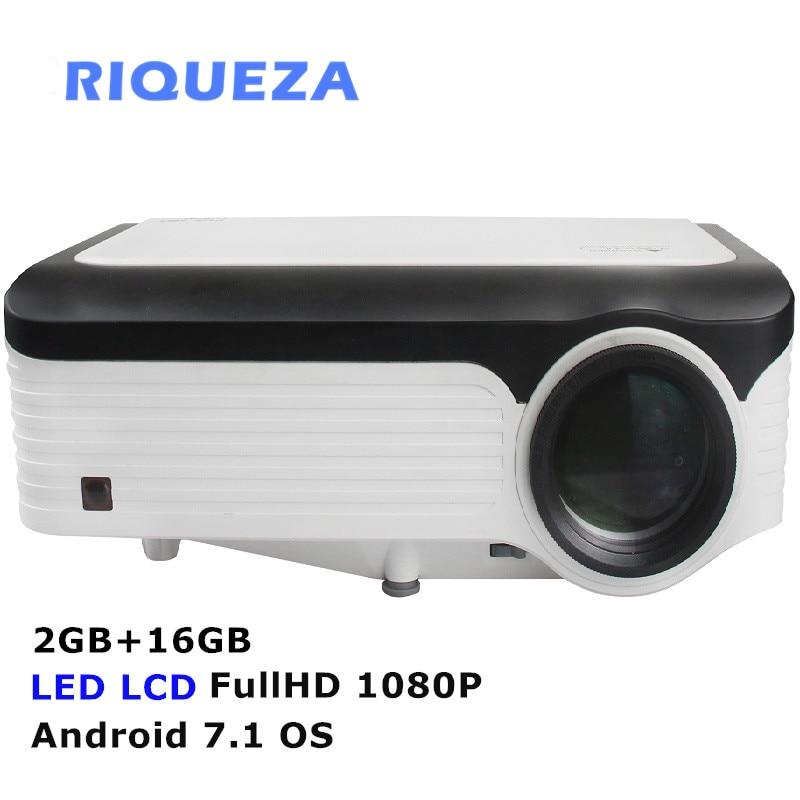 RIQUEZA X2001 2 GB + 16 GB Android Projetor Inteligente FULLHD 1080 P LEVOU Projetor 1920x1080 4 k projector de vídeo Android 7.1 do SISTEMA OPERACIONAL Para Celulares