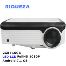 Riqueza X2001 Smart 2 GB + 16 GB Android Proyektor Fullhd 1080 P LED Proyektor 1920X1080 4 K video Projector Android 7.1 OS untuk Ponsel(China)