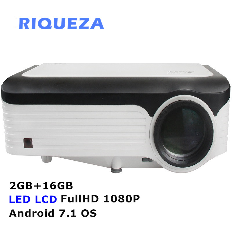 RIQUEZA X2001 inteligente 2 GB + 16 GB Android proyector Full HD con 1080 P proyector LED 1920x1080 4 k Video proyector android 7,1 OS para teléfonos