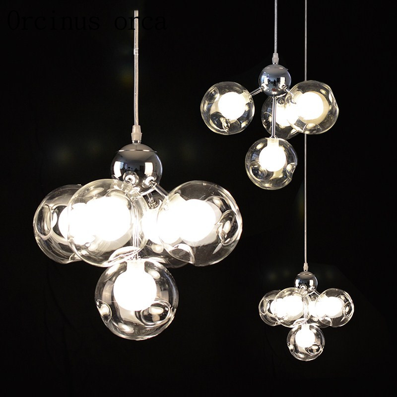 Postmodern minimalist art creative bubbles chandeliers stained glass balls chandeliers restaurants bars children's room lights postmodern minimalist fans glass art decor chandeliers g9 6 9 heads creative pendent lights living rooms dining room bedroom